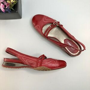"""Cole Haan Red Slip On Sling Back Flats Round Toe """"NikeAir"""" Sz 7"""