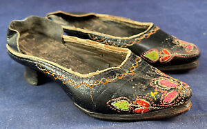 Antique 19th Century Portuguese Folk Costume Embroidered Leather Mule Shoes VTG
