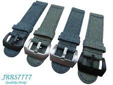 24mm Watch Strap Canvas Denim Indigo Blue Beige Stainless Steel Screw In Buckle
