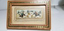 20th C Handpainted bone Persian Plaque Khatam Mosaic Frame inlaid metal mosaic