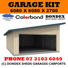 DONDEX Double Garage Shed Kit 6.08 x 6.08 x 2.7 Skillion Colorbond Roof & Walls