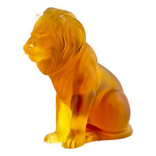 LALIQUE #10139900 AMBER LION BAMARA BRAND NEW IN BOX GOLDEN LION FIGURINE SAVE$$