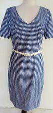 REVIEW Blue/White Check Stretch Dress Size 14 BNWT