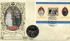 Benham Royal Golden Wedding Coin Cover 1997 Tuvalu Miniature Sheet