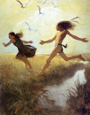 Wyeth N C The Children Were Playing At Marriage Print 11 x 14   #3238