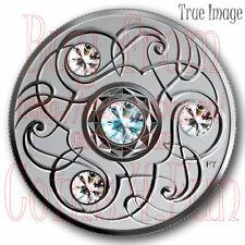 2020 March Birthstone Aquamarine $5 Pure Silver Proof Coin w/Swarovski Crystal