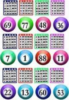 24 X BINGO THEMED BALLS AND TICKETS PREMIUM CUPCAKE TOPPER EDIBLE RICE PAPER