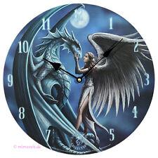 Wanduhr Bilderuhr Uhr Deko - Silver Back Drache und Engel bei Vollmond - Mystic