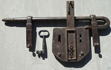Enormous wrought iron 19th trick gate lock with unusual key