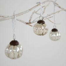 Pequeño Efecto Antiguo Cristal Bola Navidad - Juego de tres