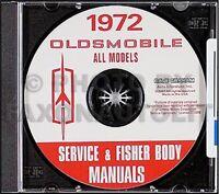 1972 Olds CD Shop and Body Manual 442 Supreme Cutlass 88 98 Toronado Oldsmobile
