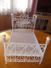 WHITE WIRE DOUBLE  BED FOR A DOLLS HOUSE