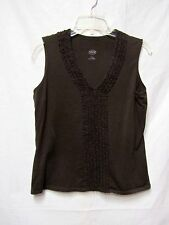 TALBOTS top shirt blouse Large 10/12 Bust 40 novelty tee soft cotton Brown V-nec