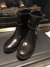 MICHAEL KORS Black Rubber short shiny finish Rain Boots inner lined Size 9