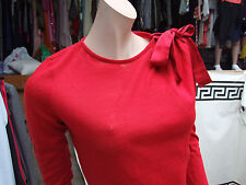 Mango M Absolutekly Gorgeous Vibrant Red Long Sleeve Top with Bow Decor Jumper