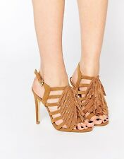 New Look Women's Wide Fit Whispers Fringed Cage Sandals Shoes Size 7/40 Tan