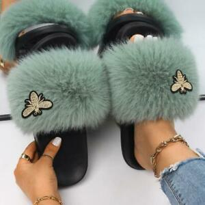 Women's Insect Applique Faux Fur Slides Fluffy Indoor Slippers Flat Designer New