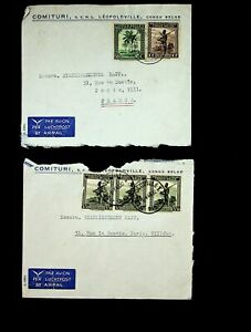 CONGO BELGIUM 1946 SET OF 2 AIRMAIL COVERS W/ 5v TREES, SOLDIER TO PARIS FRANCE