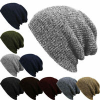 Men Women Ribbed Knit Baggy Beanie Casual Hat Ski Slouchy Chic Knitted Cap Skull