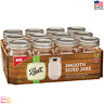 12 PACK 16 oz Smooth Glass Mason Pint Jars with Lids and Bands Regular Mouth