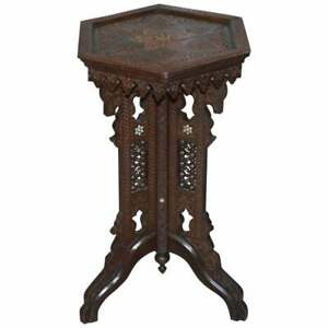 RARE 19TH CENTURY HAND CARVED LIBERTY'S LONDON MOORISH SIDE END LAMP WINE TABLE