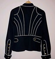 Women's Aziz Zip Front Jacket Black With White Trim Copper Snaps Fitted Size 10