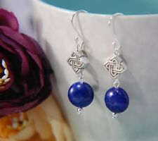 Navy Blue LAPIS LAZULI Gemstone & Celtic Knot 925 STERLING SILVER Earrings 30mm
