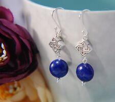 Navy Blue LAPIS LAZULI Gemstone & Celtic Knot 925 STERLING SILVER Earrings 30mm