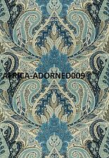SCHUMACHER EXOTIC PAISLEY MEDALLIONS PRINT LINEN FABRIC 10 YARDS INDIGO BLUES