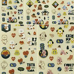 BT21 Green Planet Clear Stickers Official KPOP RJ TATA CHIMMY MANG KOYA COOKY