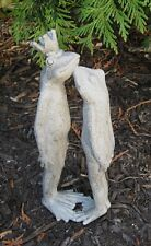 Kissing FROG King Crown Toad Sculpture*Primitive/French Country Farmhouse Decor
