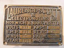 1933 TEES NEWPORT BRIDGE PLAQUE / SIGN  TAKEN FROM ONE OF THE TWO 325HP MOTORS