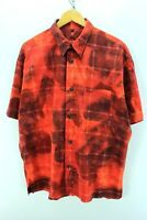 Signum Men's Abstract Pattern Shirt Size L Red Floral Short Sleeve CD1184