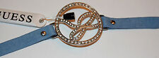 """NWT Guess Silver Metal Round Link """"G"""" Rhinestone Blue Faux Leather Cuff Bracelet"""