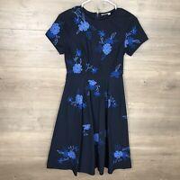 eShakti Women's Size XS 0 Embroidered Fit & Flare Dress Blue Short Sleeve