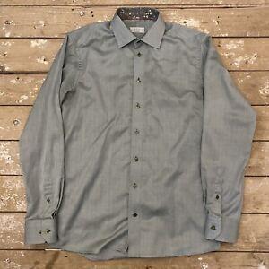 """Eton Contemporary Shirt 42 16.5"""" Green Herringbone"""