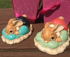 Pair Of Two Pendelfin Bunny Rabbits Dodger Hand Painted 915.112 Vintage