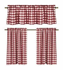Poly Cotton Gingham Checkered Plaid Design 3-Piece Kitchen Curtain Valance Set