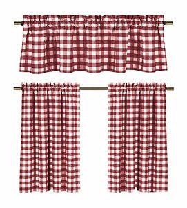 Poly Cotton Gingham Checkered Plaid Design 3-Piece Kitchen Curtain Valance Set