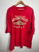 Harley Davidson Logo Biker Tee Size XL Red Short Sleeve Double Sided