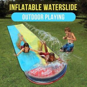 Inflatable Water Slide Kids Outdoor Garden Toys Sprinkler Slip Rally Pro Raceway