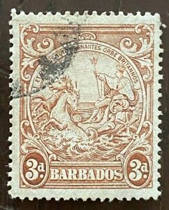 Barbados KGVI SG252ba 3d Brown 'Vertical Line Over Horses Head' Used £140