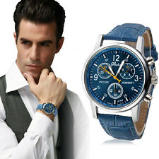 Luxury Fashion Crocodile Faux Leather Mens Analog Watch Watches Blue Men Watches