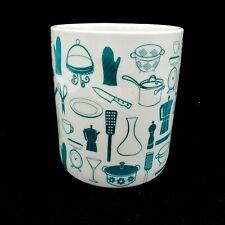 New listing Paperchase Porcelain Kitchen Utensil Jar Crock Holder White Turquoise