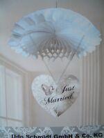 Just Married Hochzeit Deko Dekoration Wabenball mit Herz Girlande Banner weiß --