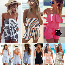 Women's Off Shoulder Mini Playsuit Beach Jumpsuit Shorts Romper Summer Sundress