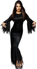 Donna Sexy Morticia Vampiro Halloween Lunga Costume Vestito 8-10-12