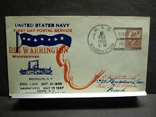 USS WARRINGTON DD-383 Naval Cover 1938 HUTNICK FDPS Cachet