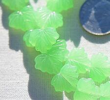 (10) Czech Glass 13x11mm Maple Leaf Beads-Green Opaline CRJ200504
