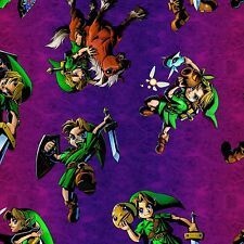Nintendo Zelda Toss Purple 100% cotton fabric by the yard